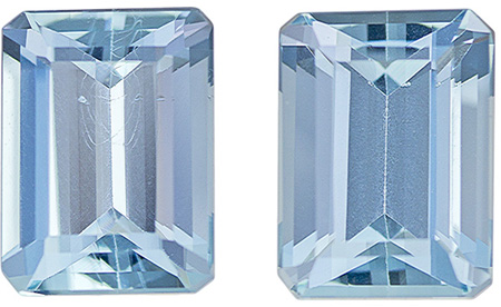 3.2 carats Aquamarine 2 Piece Matched Pair in Emerald Cut, Rich Blue, 8 x 6 mm