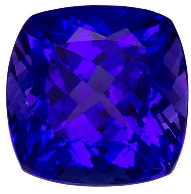 3.20 carats Tanzanite Loose Gemstone in Cushion Cut, Intense Blue Purple, 8.3 x 8.2 mm