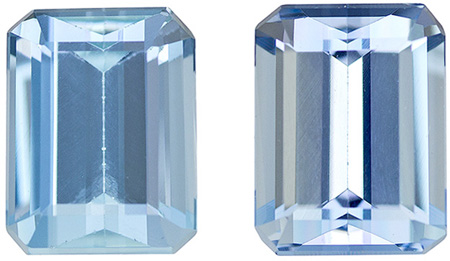 3.21 carats Aquamarine Well Matched Gem Pair in Emerald Cut, Rich Blue, 8 x 6 mm