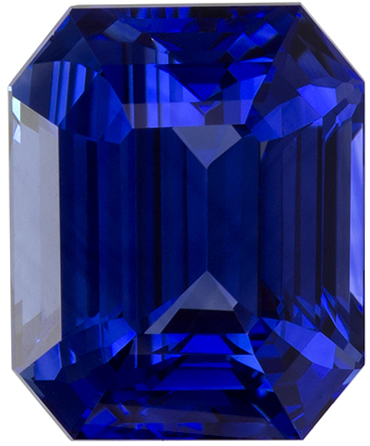3.22 carats Blue Sapphire Loose Gemstone in Emerald Cut, Vivid Blue, 8.5 x 7 mm