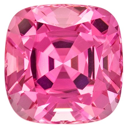 Exceptional Pink Tourmaline 3.22 carats, Cushion shape gemstone, 8.4 x 8.3  mm
