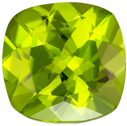Exciting 3.24 carat Green Peridot Gemstone in Cushion Cut 9 mm