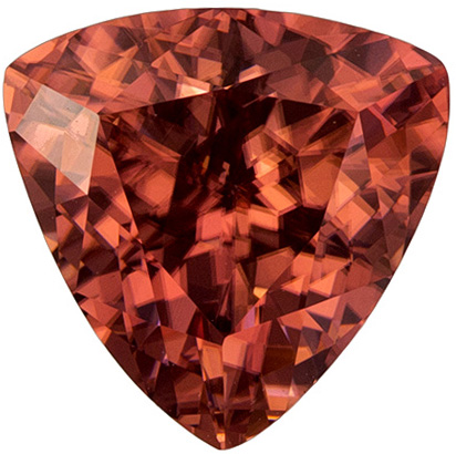 3.31 carats Brown Zircon Loose Gemstone in Trillion Cut, Rich Rose Brown, 8.7 mm