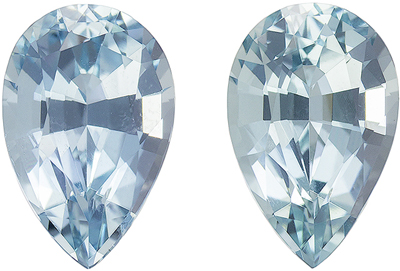 3.33 carats Aquamarine Matched Gemstone in Pair in Pear Cut, Rich Blue, 9.8 x 6.4 mm