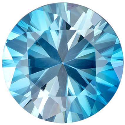 Fine Quality  3.39 carat Blue Zircon Gemstone in Round Cut 9.1 mm