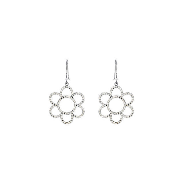 Must See 0.75 Carat Total Weight Diamond Flower Earrings