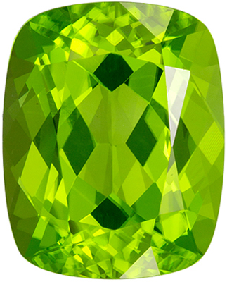 Very Desirable Peridot Loose Gem, 3.42 carats, Vivid Lime Green, Cushion Cut, 10 x 8mm