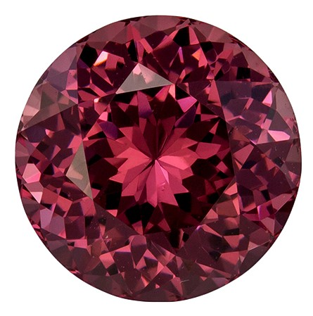 3.43 carats Rhodolite Garnet Loose Gemstone in Round Cut, Beautiful Rose Berry Color in 8.6 mm