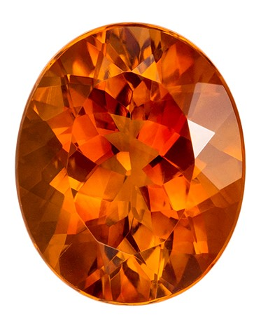 3.45 carats Citrine Loose Gemstone in Oval Cut, Vivid Golden Orange, 11 x 9 mm