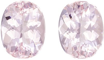 Beautiful Morganite Well Matched Gemstone Pair Oval Cut, Light Peach Pink, 9 x 7 mm, 3.45 carats