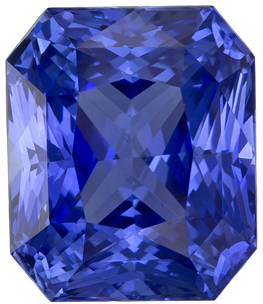 3.46 carats Blue Sapphire Loose Gemstone in Radiant Cut, Rich Blue, 8.4 x 7.1 mm
