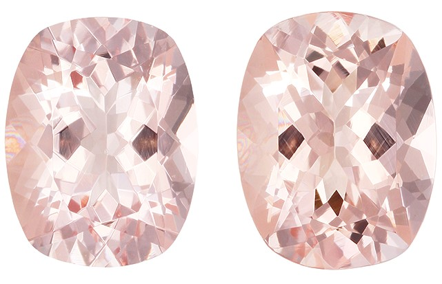 Stunning Pink Morganite Genuine Gemstones, 3.48 carats, Cushion Cut, 9 x 7  mm , Matching Pair, Must See