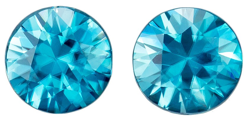 Stunning Blue Zircons Matched Pair 3.49 carats, Round shape gemstones, 7  mm