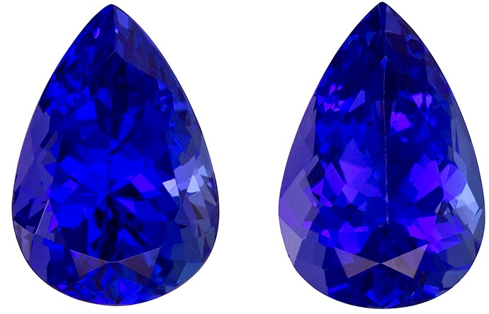 3.49 carats Tanzanite Matched Gemstone in Pair in Pear Cut, Vivid Blue Purple, 9.2 x 6.2 mm