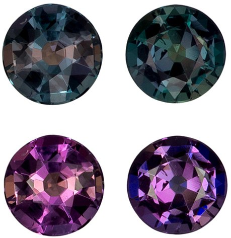 3.5 mm, 0.41 carats Fine Brazilian Alexandrite Pair in Round Cut, 100% Change Teal Blue Green to Burgundy - SOLD