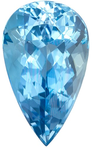 Stunning Blue Aquamarine Genuine Stone, 3.51 carats, Pear Cut, 13.8 x 8.2  mm , Must See This Gemstone