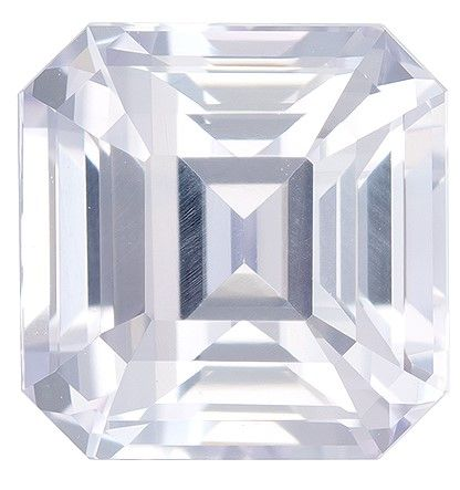 Natural White Sapphire Gemstone, 3.52 carats, Emerald Cut, 7.5 x 7.4 mm, Must See This Gem