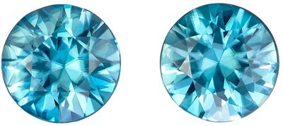 So Beautiful 3.54 carats Blue Zircon Round Gemstone Earring Pair, 6.9 mm