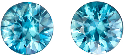 Beautiful 3.54 carats Blue Zircon Round Gemstone Pair, 6.9 mm