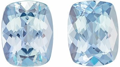 Calibrated 3.55 carats Rich Blue Aquamarine Cushion Gemstone Pair, 9 x 7 mm