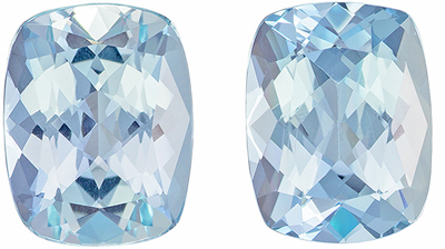 Must See 3.55 carats Blue Aquamarine Cushion Gemstone Pair, 9 x 7 mm