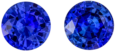Very Eye Catching Sapphire Gem Pair, 3.55 carats, Intense Rich Blue, Round Cut, 7.4 mm