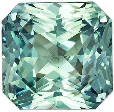 Bright & Lively No Heat Radiant Shape Blue Green Sapphire Gemstone, 3.61 carats, Seafoam Minty Blue Green Color, 8.18 x 7.88 x 5.69 mm, GIA Certified