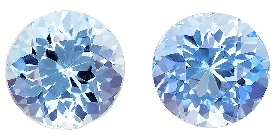 3.61 carats Aquamarine Matched Gemstone in Pair in Round Cut, Sky Blue, 8 mm