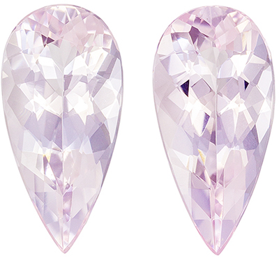 Attractive Morganite Well Matched Gemstone Pair 3.63 carats, Pear Cut, Light Peach Pink, 12.8 x 6.3 mm