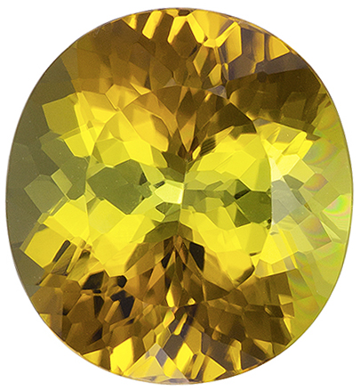 3.68 carats Brown Tourmaline Loose Gemstone in Oval Cut, Yellow, Olive Green & Honey Brown, 10.4 x 9.6 mm