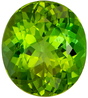 Apple Green Tourmaline Gemstone, Very Stunning Gem in 3.68 carats, Oval Cut in 10.5 x 9.3mm
