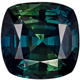 Lovely Rare No Heat Cushion Shape Blue Green Sapphire Loose Gem, 3.7 carats, Vivid Teal Blue Green Color, 8.86 x 8.73 x 5.55 mm, GIA Certified