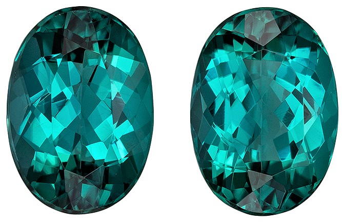 Great Deal on Blue Green Tourmaline Faceted Gems, 3.78 carats, Oval Cut, 9.3 x 6.6  mm , Matching Pair