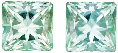 Exceptionally Fine Seafoam Color Tourmaline Matched Pair, 3.82 carats, Radiant Cut in 6.7mm Size