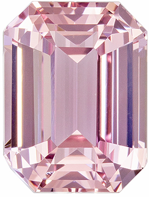 Hard to Find Emerald Shape Peach Sapphire Gem, 3.83 carats, Pinkish Orangey Peach Color, 9.2 x 6.9 mm