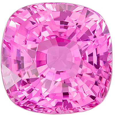 Natural Loose 3.83 carats Pink Sapphire Cushion Genuine Gemstone, 8.32 x 8.32 x 6.22 mm