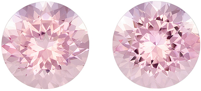 Must See 3.84 carats Pink Morganite Round Gemstone Pair, 8.4 mm
