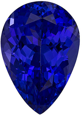 3.88 carats Tanzanite Loose Gemstone in Pear Cut, Intense Violet Blue, 12.1 x 8.4 mm