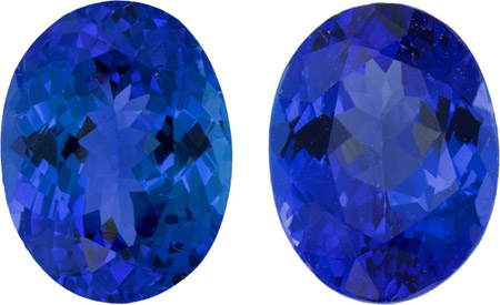 3.95 carat Tanzanite Well Matched Pair in Oval Cut, 9.0 x 7.0 mm - Calibrated German Cut