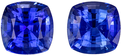 Special Sapphire Matched Pair, 6.4 mm, Intense Rich Blue, Cushion Cut, 3 carats