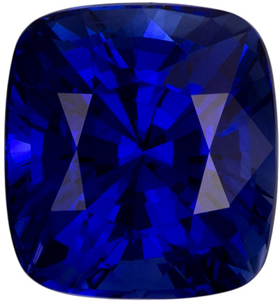 3 Carat Ceylon Blue Sapphire GIA Gemstone in Cushion Cut, Vivid Rich Blue Color in 8.5 x 7.9 mm, 3.73 carats