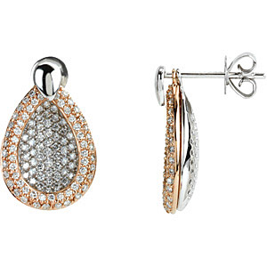 3-in-1! - Fun and Fancy Interchangeable 14k White Gold and Rose Gold Pave Diamond Earrings - 1.625 ct