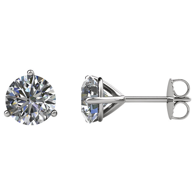 Must See 14 Karat White Gold 0.50 Carat Total Weight Diamond FriCaration Post Stud Earrings