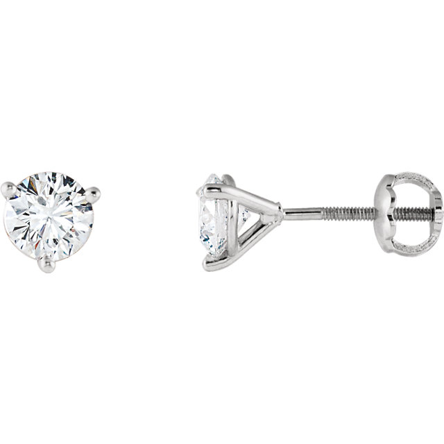 Natural 14 KT White Gold 7/8 Carat TW Riente Round Genuine Diamond Stud Earrings