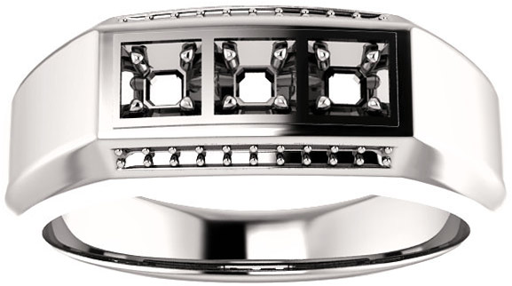 3Stone Accented Men's Ring Mounting for Asscher Gemstone Size 2mm to 6mm