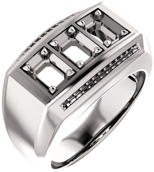 3-Stone Accented Men's Ring Mounting for Emerald Shape Centergem Sized 5.00 x 3.00 mm to 7.00 x 5.00 mm - Customize Metal, Accents or Gem Type