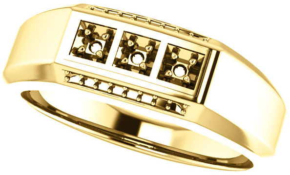 3-Stone Accented Men's Ring Mounting for Round Shape Centergem Sized 2.00 mm to 6.00 mm - Customize Metal, Accents or Gem Type