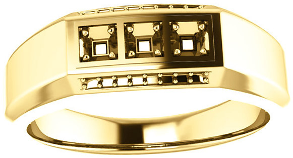 3Stone Accented Men's Ring Mounting for Square Gemstone Size 2mm to 6mm