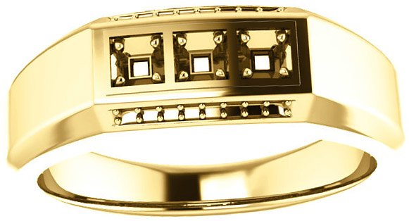 3-Stone Accented Men's Ring Mounting for Square Shape Centergem Sized 2.00 mm to 6.00 mm - Customize Metal, Accents or Gem Type