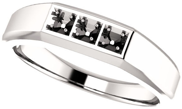 3-Stone Men's Ring Mounting for Asscher Shape Centergem Sized 2.00 mm to 6.00 mm - Customize Metal, Accents or Gem Type